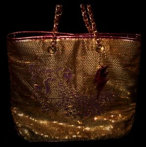 BETSEYVILLE PURPLE & GOLD SEQUIN TIGERS TOTE BAG!!